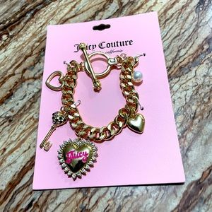 Juicy Couture Key & Heart Charm Toggle Bracelet